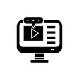 video lessons black icon sign on isolated vector image