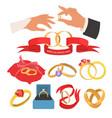 wedding jewelry set flat isolated vector image
