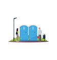 woman and man in a queue for public toilets semi vector image vector image