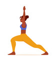 woman doing yoga crescent lunge vector image