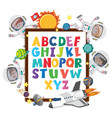 a-z alphabet board with kids in outer space theme vector image vector image
