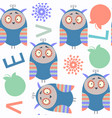 abstract owls kids cheerful seamless pattern it vector image vector image