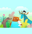 animals characters friendship portrait in the vector image