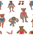 background of old plush toys vector image