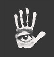 banner with a male eye on an open human palm vector image