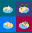 beach vacation banner card set 3d isometric view vector image vector image