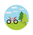 bicycle in a beautiful landscape vector image vector image
