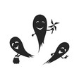 black silhouette cute ghosts halloween party vector image