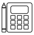 calculator math device with pencil vector image