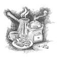 coffee set sketch vector image vector image