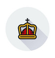 crown icon on round background vector image vector image