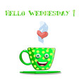 cute cartoon green smiling cup with yellow polka vector image vector image