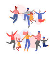 cute happy families jumping holding hands set vector image