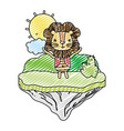 doodle male lion animal in the float island vector image vector image