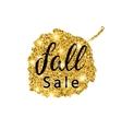 Fall Sale brush lettering Gold glitter banner vector image