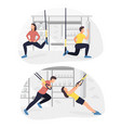 fit people working out on trx doing bodyweight vector image vector image