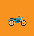 flat classic motorcycle on color background vector image vector image