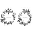 floral wreath black and white laelia feijoa vector image
