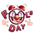 fun clock fools day vector image vector image