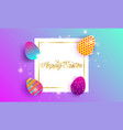happy easter lettering background vector image vector image