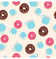 Hot chocolate and ring donuts seamless pattern vector image vector image
