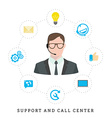 Icons for call center or hotline call center male vector image