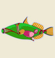 incomprehensible green monster fish with a cork vector image