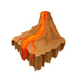 isometric volcano island with hot flowing lava vector image