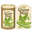 label for a tin can of canned green peas vector image
