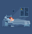 lady sleeping at night woman sleep in bed under vector image