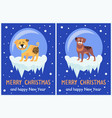 merry christmas and happy new year banners puppies vector image vector image
