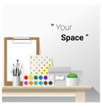 mock up wall scene with school supplies vector image