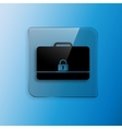 Modern flat icon of secured briefcase vector image