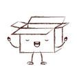 opened kawaii animated cardboard box in monochrome vector image