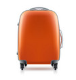 orange plastic suitcase on white background vector image