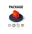 Package icon in different style vector image vector image