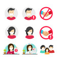 people in medical face surgery mask icons set or vector image