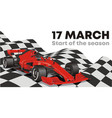 racing car on the finish flag start of the racing vector image vector image