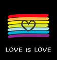 rainbow flag lgbt gay symbol love is love text vector image vector image