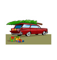 Red Car Station Wagon Christmas vector image vector image