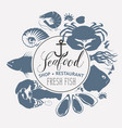 seafood banner with sea inhabitants and lettering vector image