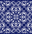 seamless floral pattern of curls blue and white vector image vector image