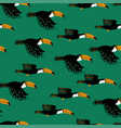 seamless pattern with flying toucan vector image vector image
