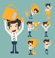Set of businessman with a golden cup vector image vector image