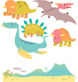 Set of cartoon dinosaurs vector image