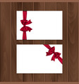 set of gift cards with realistic bow and ribbon vector image vector image