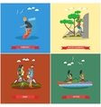 set of summer outdoor activities concept vector image vector image