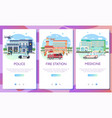 set web page design templates for emergency vector image vector image