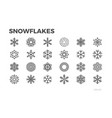 snowflakes icons ice cold symbols editable line vector image