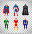 superhero costumes set on transparent background vector image vector image